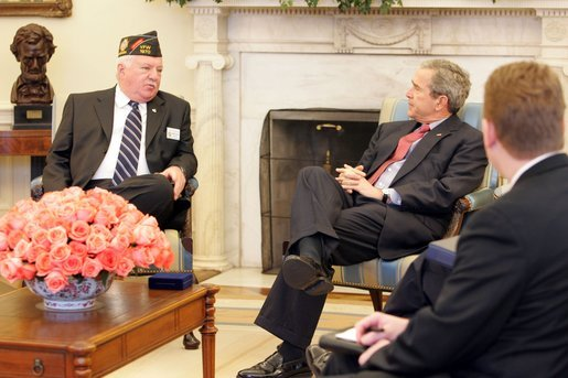 President George W. Bush meets with John Furgess, the National Commander-in-Chief of the Veterans of Foreign Wars, in the Oval Office Monday, March 14, 2005. White House photo by Krisanne Johnson