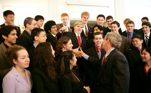 President George W. Bush greets the 40 finalists of the 2005 Intel Science Talent Search in the Blue Room of the White House, Monday, March 14, 2005. White House photo by Susan Sterner