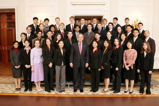 President George W. Bush meets the 40 finalists of the 2005 Intel Science Talent Search in the East Room of the White House, Monday, March 14, 2005. The science competition, known as the junior Nobel Prize, allows U.S. high school seniors to complete an original research project that is reviewed by a national jury of professional scientists. White House photo by Susan Sterner