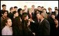 President George W. Bush greets the 40 finalists of the 2005 Intel Science Talent Search in the East Room of the White House, Monday, March 14, 2005. White House photo by Susan Sterner