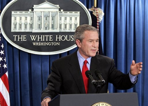 "President George W. Bush holds a press conference in the James S. Brady Press Briefing Room at the White House Wednesday, March 16, 2005. ""Iraq had a meeting today of its transitional national assembly. It's a bright moment in what is a process toward the writing of a constitution, the ratification of the constitution, and elections,"" said the President covering a wide range of topics. White House photo by Paul Morse"