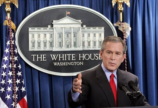 Spending almost an hour discussing the nation's topics, President George W. Bush talks with reporters in the James S. Brady Press Briefing Room at the White House Wednesday, March 16, 2005. White House photo by Paul Morse