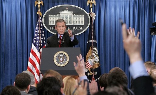 President George W. Bush calls on reporters during his press conference in the James S. Brady Press Briefing Room at the White House Wednesday, March 16, 2005. White House photo by Paul Morse