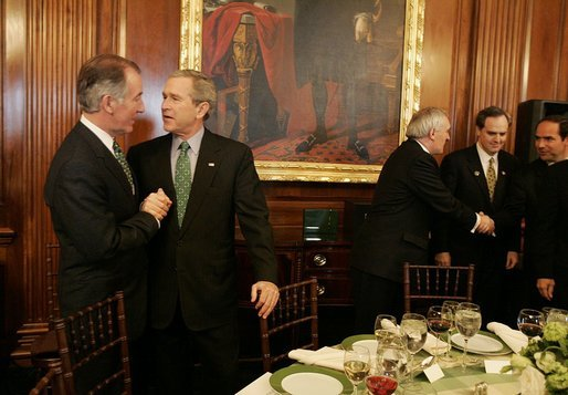 President George W. Bush attends a luncheon celebrating St. Patrick's Day and Irish-American heritage at the U.S. Capitol Thursday, March 17, 2005. White House photo by Krisanne Johnson