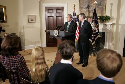 "President George W. Bush announces his nomination of Congressman Rob Portman, R-Ohio, to be the next U.S. Trade Representative during a ceremony in the Roosevelt Room Thursday, March 17, 2005. ""As a member of the House leadership, Rob has shown he can bring together people of differing views to get things done. He's been a tireless advocate for America's manufacturers and entrepreneurs,"" said the President. White House photo by Paul Morse"