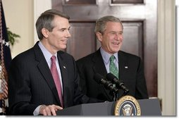 Congressman Rob Portman, R-Ohio, speaks during a ceremony in which President Bush nominated him to be the next U.S. Trade Representative during a ceremony in the Roosevelt Room Thursday, March 17, 2005.  White House photo by Paul Morse