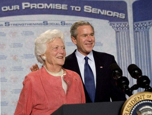 Former First Lady Barbara Bush introduces her son President George W. Bush during a discussion on strengthening Social Security at the Lake Nona YMCA Family Center in Orlando, Fla., Friday, Mar. 18, 2005. White House photo by Eric Draper