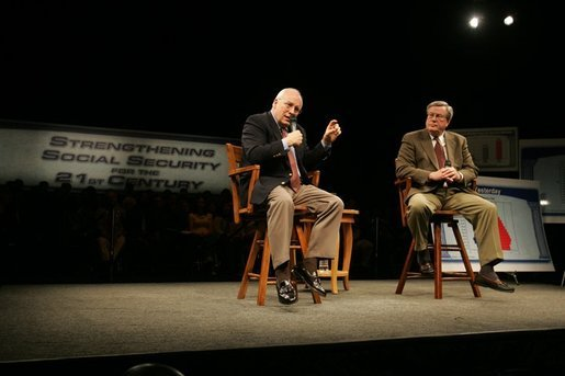 Vice President Dick Cheney discusses strengthening Social Security during a town hall meeting in Bakersfield, Calif., March 21, 2005. On stage with the Vice President is Rep. Bill Thomas, R-CA, chairman of the Ways and Means Committee. White House photo by David Bohrer