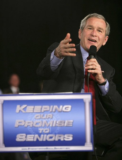 President George W. Bush emphasizes a point as he talks about strengthening Social Security Monday, March 21, 2005, to senior citizens at the Tucson Convention Center in Tucson, Ariz. White House photo by Eric Draper