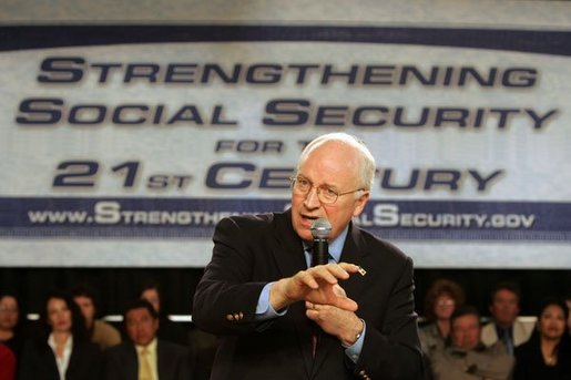 Vice President Dick Cheney emphasizes a point as he talks about strengthening Social Security at the Neil Road Recreation Center in Reno, Nev., Tuesday, March 22, 2005. White House photo by David Bohrer