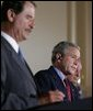 "President George W. Bush participates in a March 23, 2005, joint news conference with Mexican President Vicente Fox, left, and Canadian Prime Minister Paul Martin, right, at Baylor University in Waco, Texas. ""It's important for us to work to make sure our countries are safe and secure, in order that our people can live in peace, as well as our economies can grow,"" said President Bush. White House photo by Krisanne Johnson White House photo by Krisanne Johnson"