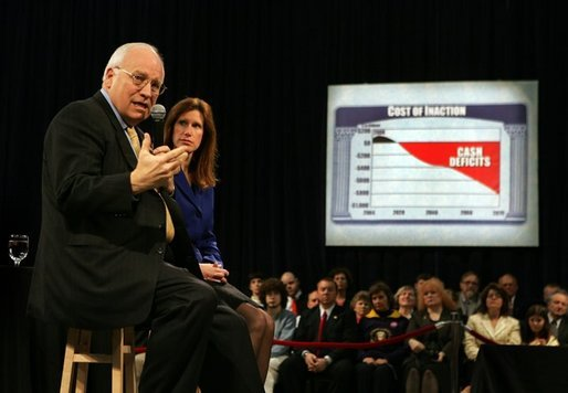 Vice President Dick Cheney speaks about Social Security reform with Rep. Melissa Hart, R-Pa., during a town hall meeting at La Roche College in Pittsburgh, Pa., Thursday, March 24, 2005. White House photo by David Bohrer