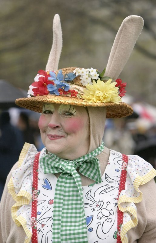 A helper of the Easter Bunny gives a wink during 2004 White House Easter Egg Roll Monday, April 12, 2004. File photo. White House photo by Paul Morse