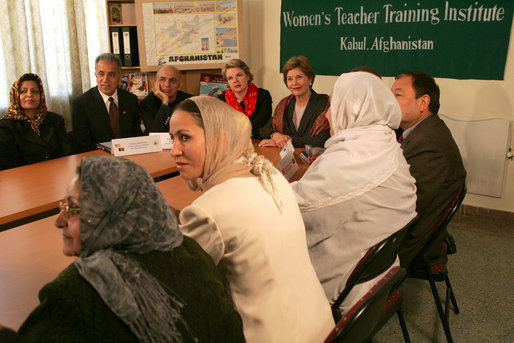 Mrs. Laura Bush is joined by Margaret Spellings, Secretary of Education, during a visit Wednesday, March 30, 2005, to the Women's Teacher's Training Institute in Kabul, Afghanistan. White House photo by Susan Sterner
