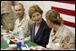 Laura Bush joins US troops as they dine in the Dragon Chow Dining Hall on Bagram Air Base in Kabul, Afghanistan Wednesday, March 30, 2005. White House photo by Susan Sterner