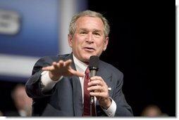 "President George W. Bush discusses Social Security at Kirkwood Community College in Cedar Rapids, Iowa, Wednesday, March 30, 2005. ""It has provided a safety net for a lot of citizens. The problem is, there's a hole in the safety net for a generation which is coming up,"" said the President. "".we ought to allow younger workers to set aside some of their own money in a personal savings account as part of the Social Security,"" said the President during his remarks. White House photo by Paul Morse"