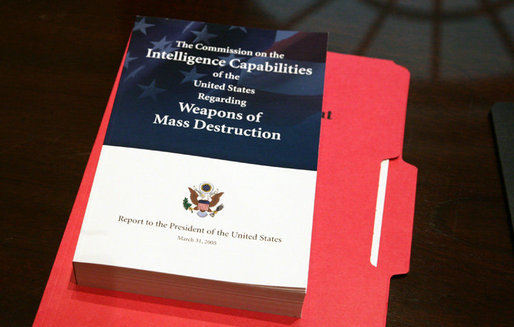 A copy of the 13-chapter report issued Thursday, March 31, 2005, by the Commission on the Intelligence Capabilities of the United States Regarding Weapons of Mass Destruction. White House photo by Eric Draper