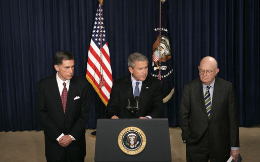 President George W. Bush, flanked by former Senator Chuck Robb, D-Va., left, and Judge Laurence Silberman, delivers a statement regarding the release Thursday, March 31, 2005, of findings by the Commission on the Intelligence Capabilities of the United States Regarding Weapons of Mass Destruction. Senator Robb and Judge Silberman are co-chairs of the commission that was established in 2004. White House photo by Eric Draper