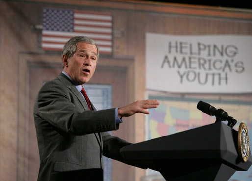 President George W. Bush addresses an estimated 600 faith-based and community practitioners and members of the local community interested in mentoring programs and prisoner re-entry issues during an appearance Friday, April 1, 2005, at Paul Public Charter School in Washington DC. The president was promoting his Helping America's Youth initiative. White House photo by Eric Draper