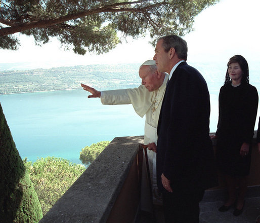 President George W. Bush and Mrs. Bush are given a tour by the Pope in August 2001 of his country retreat, Castel Gandolfo. White House photo by Eric Draper