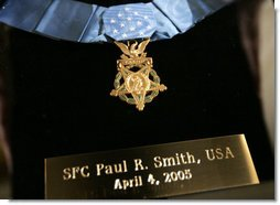 The Medal of Honor for Sgt. 1st Class Paul Smith. Awarded posthumously Monday, April 4, 2005, during ceremonies at the White House. White House photo by Paul Morse