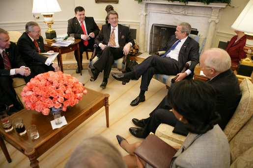 george bush oval office. President George W. Bush And Ukrainian Viktor Yushchenko Meet In The Oval Office Prior To Participating A Joint Press Availability At White