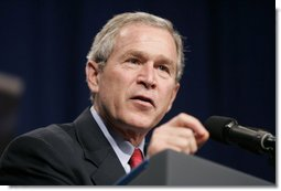 President George W. Bush delivers remarks after touring the Bureau of Public Debt in Parkesburg, W.Va., Tuesday, April 5, 2005.  White House photo by Paul Morse