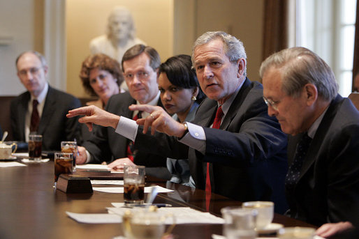 President George W. Bush conducts his second Cabinet meeting of his second term in the Cabinet Room Tuesday, April 5, 2005. White House photo by Eric Draper