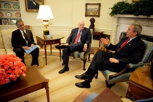 President George W. Bush, Vice President Dick Cheney and Secretary of State Condoleezza Rice (not pictured) meet with Zalmay Khalilzad, Ambassador to Afghanistan, Tuesday, April 5, 2005, in the Oval Office. White House photo by Eric Draper