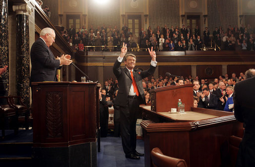 Ukrainian President Viktor Yushchenko responds to a standing ovation from Vice President Dick Cheney and congressional members shortly before addressing a joint session of Congress at the U.S. Capitol in Washington, D.C., Wednesday, April 6, 2005. President Yuschenko met with President Bush earlier this week. White House photo by David Bohrer