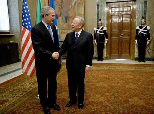 President George W. Bush is greeted upon his arrival to Quirinale Palace by Italy's President Carlo Ciampi Thursday, April 7, 2005. President Bush made the courtesy call while in Rome for the Friday funeral of Pope John Paul II. White House photo by Eric Draper