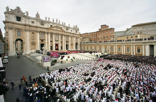 Thousands of mourners attend funeral mass Friday, April 8, 2005, inside Rome's St. Peter's Square for Pope John Paul II, who died April 2 at the age of 84.White House photo by Eric Draper