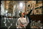 First lady Laura Bush is given a tour of St. John at the Lateran Church in Rome by art historian Dr. Stefano Aluffi-Pentini Thursday, April 7, 2005. The President and Mrs. Bush are in Italy for the scheduled Friday funeral of Pope John Paul II. White House photo by Krisanne Johnson