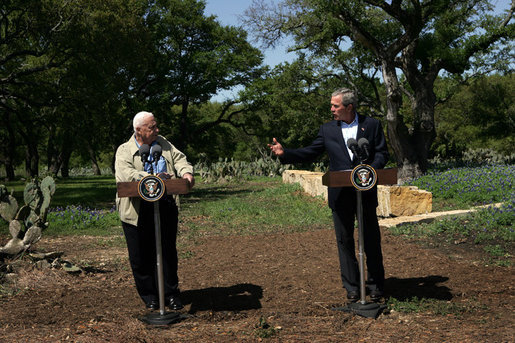"Israeli Prime Minister Ariel Sharon and President George W. Bush hold a press conference after meeting at the President's Ranch in Crawford, Texas, Monday, April 11, 2005. ""I strongly support his courageous initiative to disengage from Gaza and part of the West Bank. The Prime Minister is willing to coordinate the implementation of the disengagement plan with the Palestinians. I urge the Palestinian leadership to accept his offer,"" said President Bush. White House photo by David Bohrer"