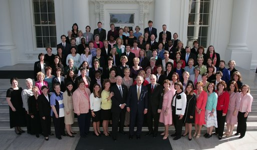 President George W. Bush poses for a photograph with the recipients of the 2004 Presidential Award for Excellence in Mathematics and Science Teaching on the North Portico of the White House Thursday, April 14, 2005. White House photo by Paul Morse