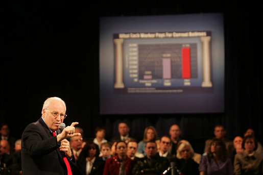 Vice President Dick Cheney discusses Social Security during a town hall meeting at Burlington Community College in Pemberton Township, N.J., Friday, April 15, 2005. White House photo by David Bohrer