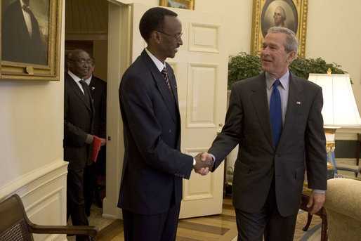 President George W. Bush meets with the President Paul Kagame of Rwanda in the Oval Office Friday, April 15, 2005. White House photo by Krisanne Johnson