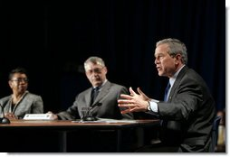 President George W. Bush leads a roundtable discussion about Social Security during a visit to Kirtland, Ohio, April 15, 2005. White House photo by Paul Morse