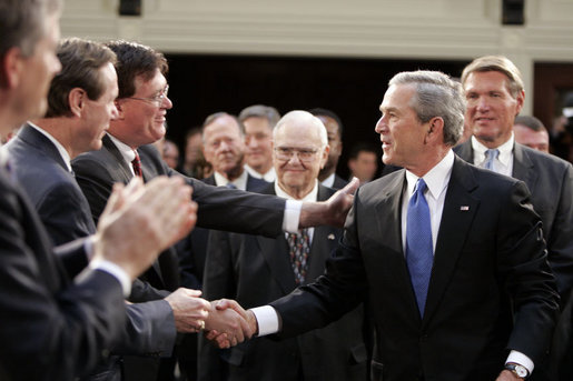 President George W. Bush greets South Carolina legislators upon his arrival to the State House in the state capitol Monday, April 18, 2005.White House photo by Paul Morse