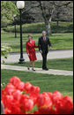 President and Laura Bush return to the White House after attending the dedication of the Abraham Lincoln Presidential Library and Museum Tuesday, April 19, 2005. White House photo by Paul Morse