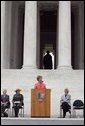 Laura Bush talks about America's national parks during a Junior Ranger campaign event at the Thomas Jefferson Memorial in Washington, D.C., April 21, 2005. White House photo by Paul Morse