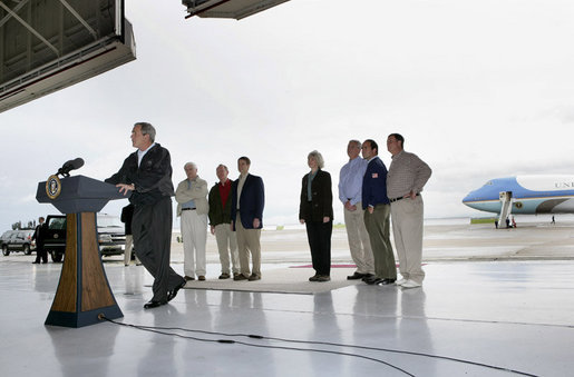 President George W. Bush delivers remarks on Earth Day Friday, April 22, 2005, at McGhee Tyson Air National Guard Base in Knoxville, Tenn. Standing behind him are, from left: Rep. John Duncan, Jr.; Senator Lamar Alexander; Senator Bill Frist; Interior Secretary Gale Norton; EPA Administrator Steve Johnson; Rep. Zach Wamp, and Rep. William Jenkins. White House photo by Eric Draper