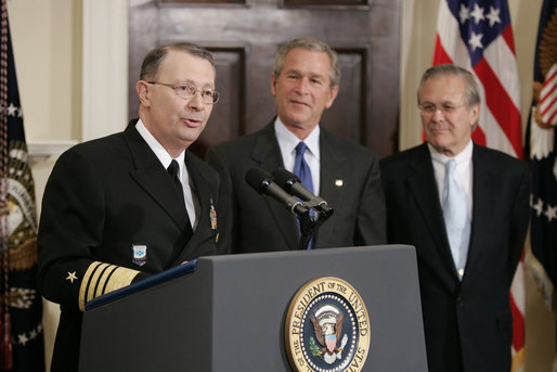 "President George W. Bush and Secretary of Defense Donald Rumsfeld listen as Admiral Edmund Giambastiani, Jr., speaks to the media Friday, April 22, 2005, at the White House after being nominated by the President as Vice Chairman of the Joint Chiefs of Staff. Admiral ""G"" presently is Commander of the U.S. Joint Forces Command in Norfolk and first Supreme Allied Commander for Transformation. White House photo by Paul Morse"