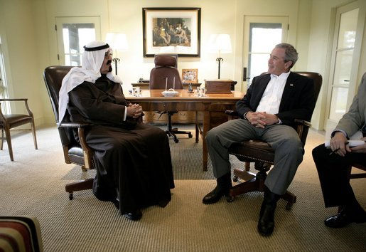 President George W. Bush visits with Saudi Crown Prince Abdullah Monday, April 25, 2005, at the President's ranch in Crawford, Texas. White House photo by Eric Draper