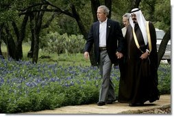 "President George W. Bush welcomes Saudi Crown Prince Abdullah to his ranch Monday, April 25, 2005, in Crawford, Texas. The President told the media on hand he looked forward to ""talking with him about a variety of subjects.""  White House photo by David Bohrer"
