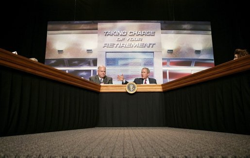 "President George W. Bush opens the discussion during a roundtable meeting on Strengthening Social Security at the University of Texas Medical Branch in Galveston, Texas, Tuesday, April 26, 2005. ""In 1950, 16 workers were paying for every beneficiary,"" said President Bush. ""Today, there's 3.3 workers for every beneficiary. Soon there's going to be two workers for every beneficiary."" White House photo by Eric Draper"