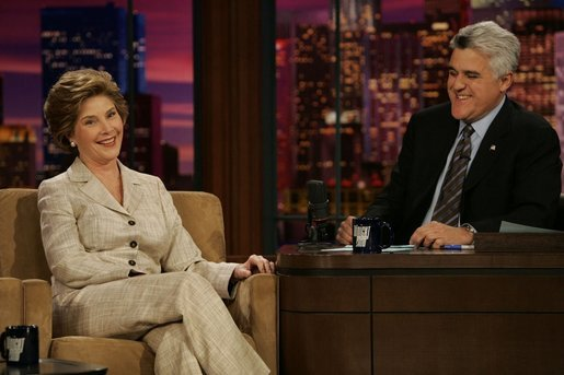 Laura Bush talks with Jay Leno of The Tonight Show during a taping of the show in Los Angeles April 26, 2005. White House photo by Krisanne Johnson