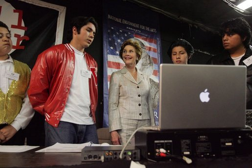 "Laura Bush talks with members of the Shakespeare Festival/LA's Will Power to Youth program before watching their rendition of ""Romeo and Juliet"" in Los Angeles April 26, 2005. White House photo by Krisanne Johnson"