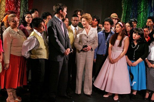 "Laura Bush meets members of the Will Power to Youth program after watching their rendition of ""Romeo and Juliet"" at the Shakespeare Festival/LA in Los Angeles April 26, 2005. The program recruits children living below the poverty level to create their own versions of Shakespeare's plays, while paying them for their work and offering tutoring opportunities. White House photo by Krisanne Johnson"