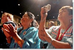 People cheer for Laura Bush after her remarks at the Heard Museum in Phoenix, Ariz., April 26, 2005.  White House photo by Krisanne Johnson